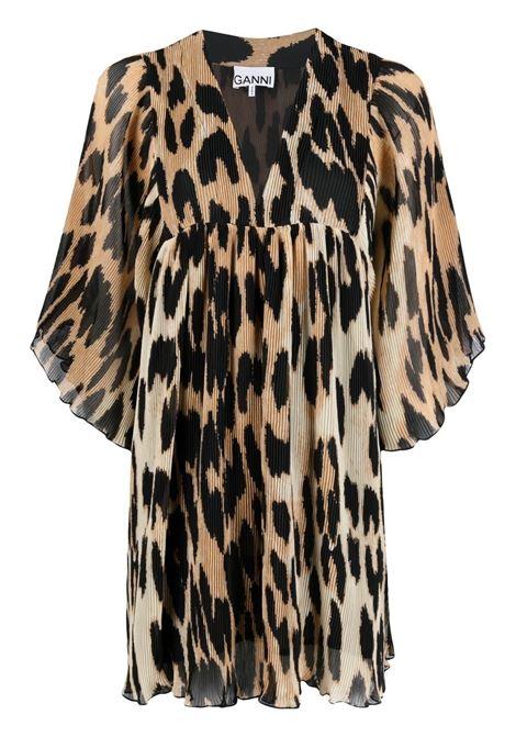 Ganni pleated minidress women maxi leopard GANNI   Dresses   F5861994