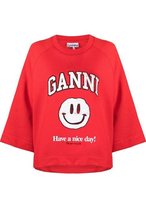Ganni 'have a nice day!' sweatshirt women flame scarlet GANNI | Sweatshirts | T2762467