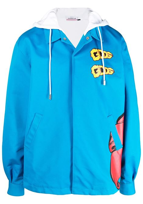 Gcds giacca con stampa grafica uomo diva blue GCDS | Capispalla | SS21M04010758