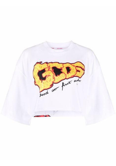 White logo cropped t-shirt - women GCDS   T-shirt   SS21W02016901