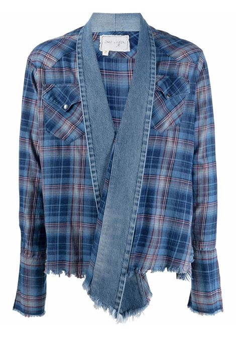 Greg lauren giacca a quadri uomo blue GREG LAUREN | Capispalla | BM112BL