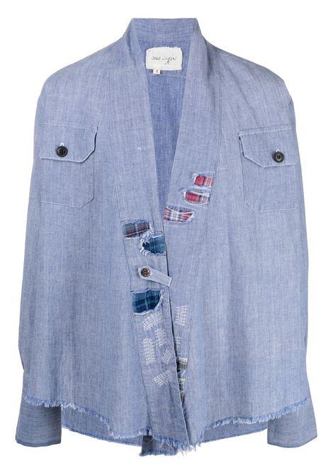 Greg lauren giacca con bordi sfilacciati uomo blue GREG LAUREN | Capispalla | BM115BL