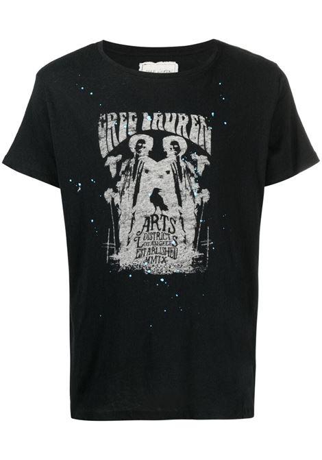 Greg lauren t-shirt con stampa uomo black GREG LAUREN | T-shirt | BM156BLK
