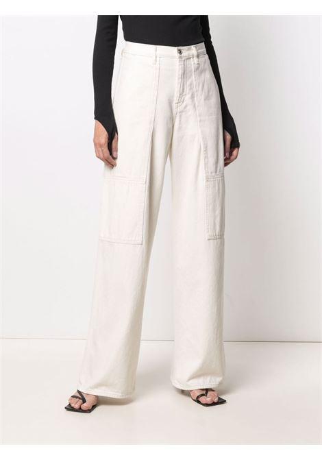 Helmut lang jeans a zampa d'elefante donna ecru HELMUT LANG | L01DW207Q5W