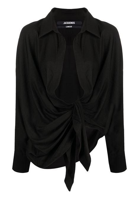 Jacquemus camicia con scollo ampio donna black JACQUEMUS | Camicie | 211SH02211102990