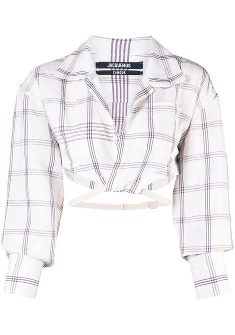 Jacquemus camicia la chemise laurier donna white purple checks JACQUEMUS | Camicie | 211SH05211125613