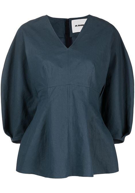 Jil Sander blusa con scollo a v donna 411 JIL SANDER | Bluse | JSPS561206WS320700411