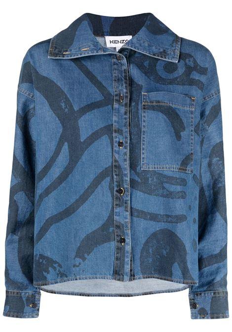 Kenzo camicia k-tiger donna bleu marine KENZO | Camicie | FB52DC2279H676