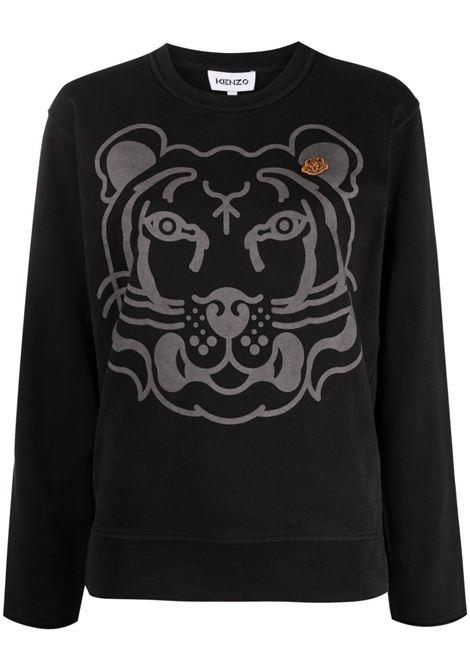 Kenzo felpa k-tiger con logo donna noir KENZO | Felpe | FB52SW8274MY99