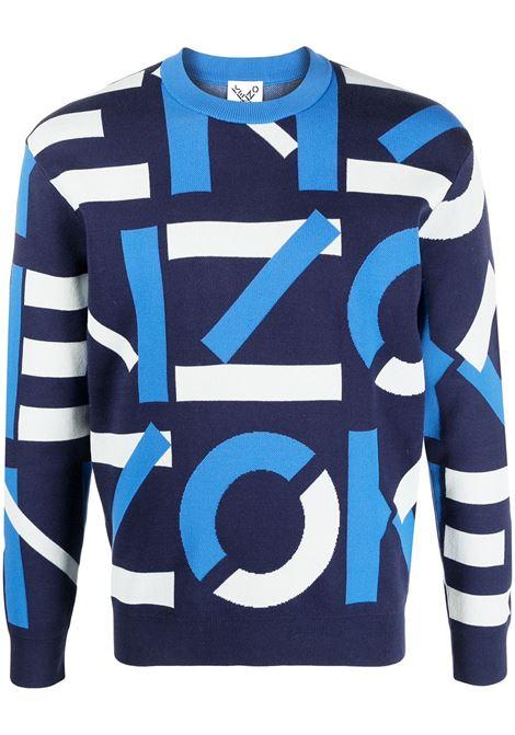 Kenzo maglione con logo uomo bleu nuit KENZO | Maglie | FB55PU5313SC77