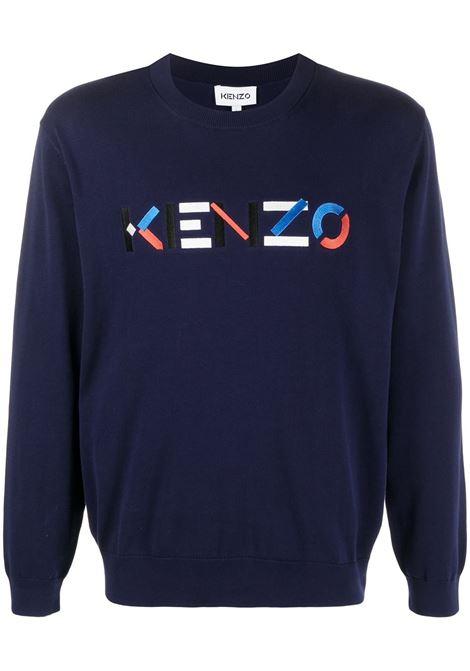 Kenzo felpa con logo uomo bleu marine KENZO | Felpe | FB55PU5413LA76