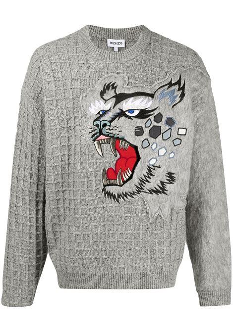 Kenzo maglione con ricamo uomo tourterelle KENZO | Maglie | FB55PU5423AE95