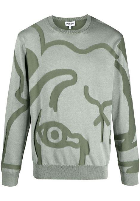 Kenzo maglione con ricamo donna celadon KENZO | Maglie | FB55PU5863TC61