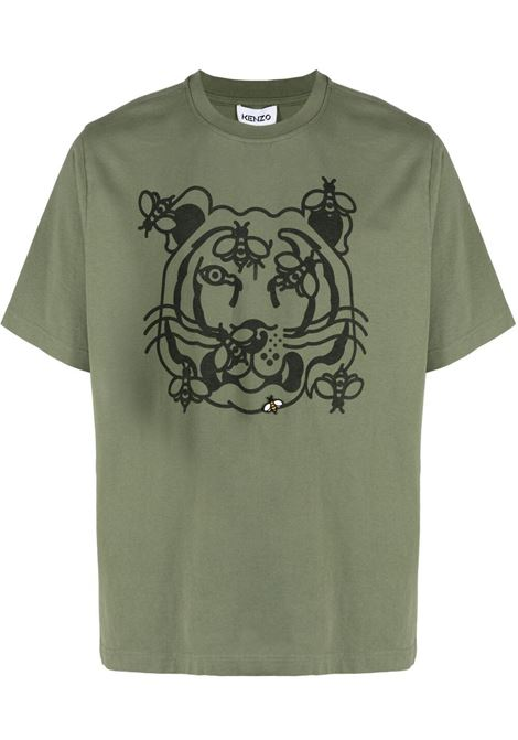 Kaki t-shirt bee a tiger con logo uomo clair KENZO | T-shirt | FB55TS0844SB48