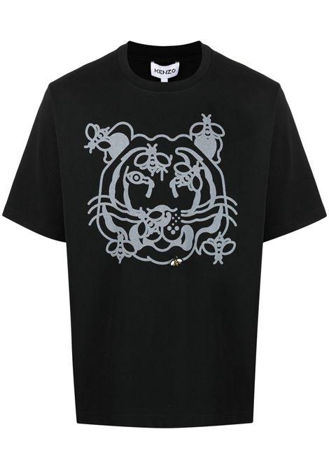 Kenzo t-shirt bee a tiger con logouomo noir KENZO | T-shirt | FB55TS0844SB99