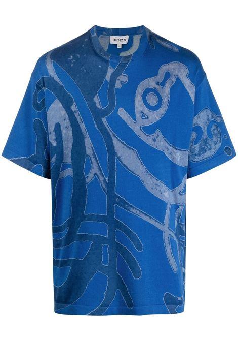 Kenzo t-shirt con logo uomo cyan KENZO | Maglie | GB55PU5873TD69