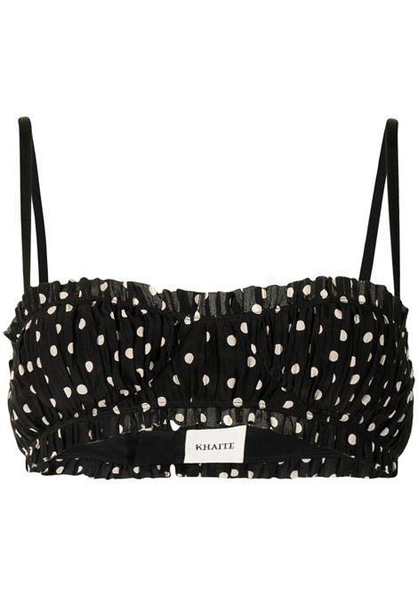 Ruched polka dot print top in black - women Khaite | Top | 2124323W323263