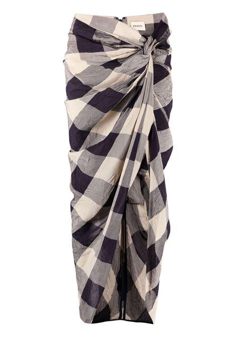 Khaite louie skirt women navy sand check Khaite | Skirts | 4035454W454339