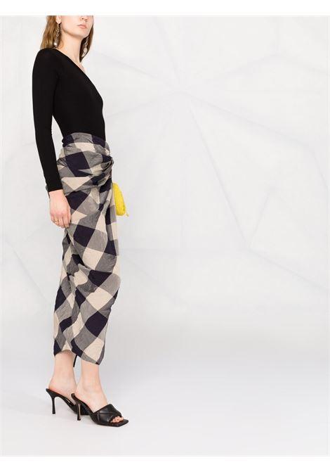 Khaite louie skirt women navy sand check KHAITE | 4035454W454339