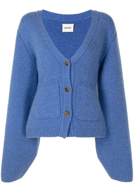Cardigan a maniche ampie con tasche applicate blu - donna Khaite | Maglie | 8267600K600313