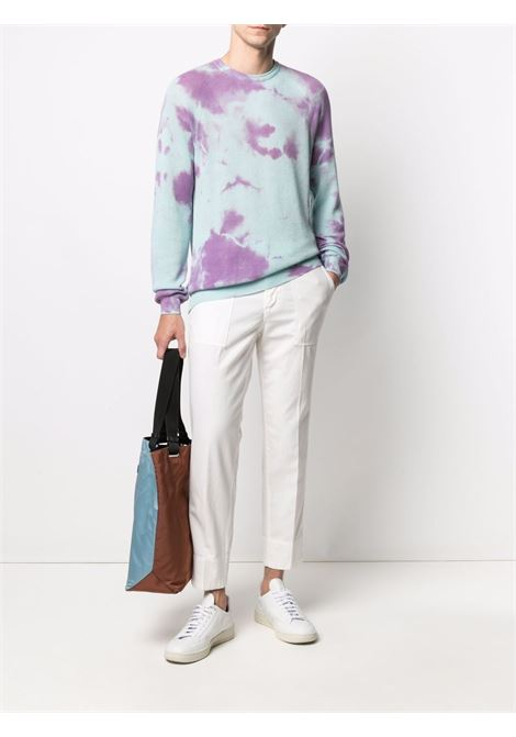 Tie-dye ribbed knit jumper light-purple and blue - men LANEUS | MGU1419VAR4