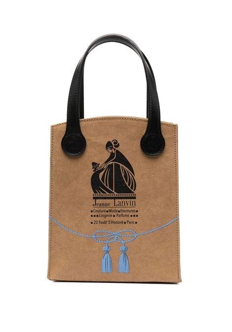 Lanvin borsa con logo donna beige black LANVIN | Borse a mano | LMBGNT01KRBO0510