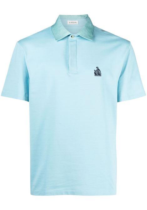 Lanvin polo con ricamo uomo light blue LANVIN | Polo | RMPL0002J03022