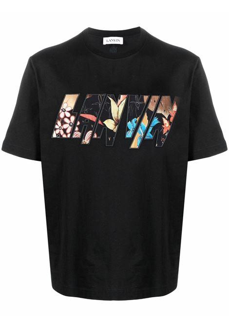T-shirt con logo uomo black LANVIN | T-shirt | RMTS0002J01710