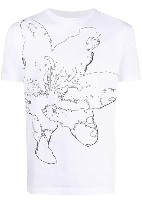 Les homes floral t-shirt men white LES HOMMES | T-shirt | LKT216703P1000
