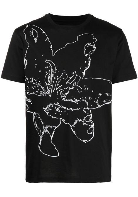 Les homes floral t-shirt men black LES HOMMES | T-shirt | LKT216703P9000
