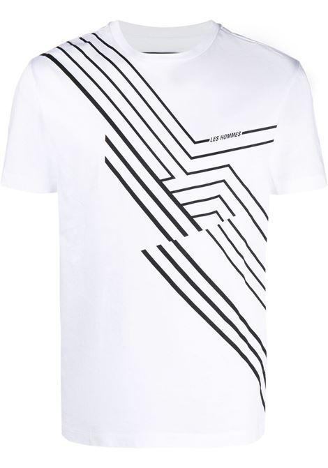 Les homes graphic-print t-shirt men white LES HOMMES | T-shirt | LKT218700P1000