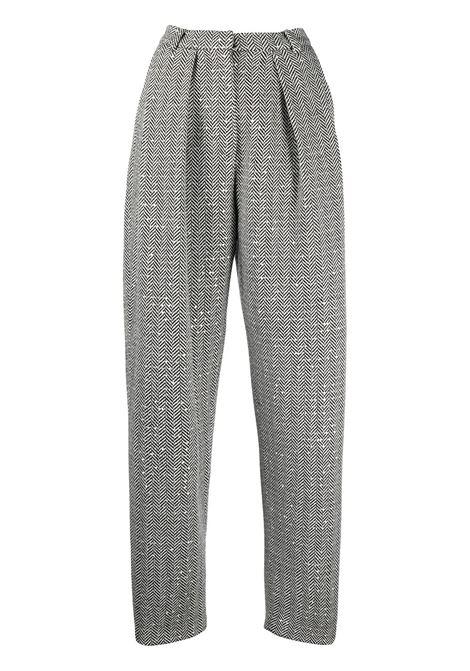 Metallic thread herringbone balloon leg trousers MAGDA BUTRYM | Trousers | AW20PANTS02BLKHRRNGBN