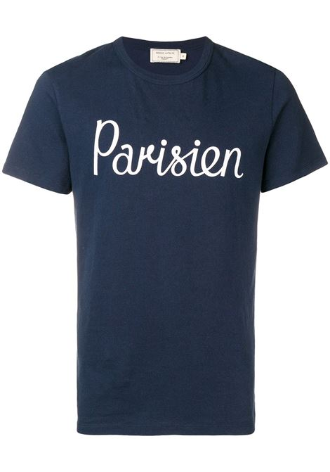 Maison Kitsuné t-shirt parisien uomo navy MAISON KITSUNÉ | T-shirt | AM00101KJ0008NA