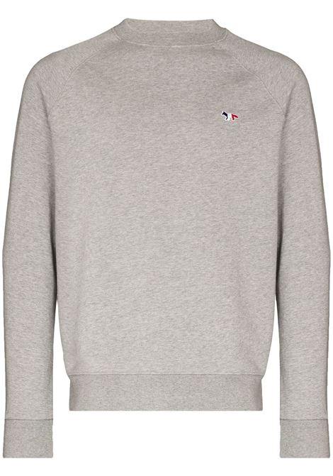 Maison Kitsuné maglione con logo uomo grey melange MAISON KITSUNÉ | Felpe | FM00322KM0001GRM