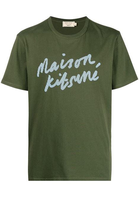 Maison Kitsuné t-shirt con stampa uomo khaki MAISON KITSUNÉ | T-shirt | GM00113KJ0008KH