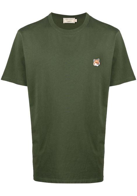 Maison Kitsuné t-shirt con logo uomo khaki MAISON KITSUNÉ | T-shirt | GM00115KJ0010KH
