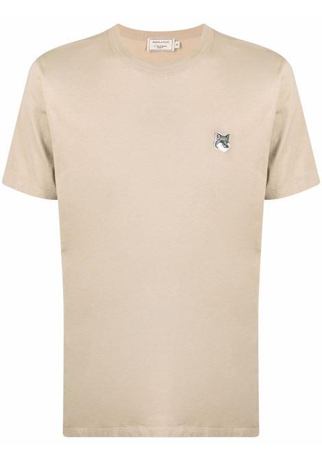 Maison kisuné t-shirt con logo uomo beige MAISON KITSUNÉ | T-shirt | GM00144KJ0008BE