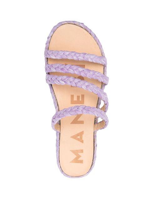 Manebi women braided strap slides lilac MANEBI | S36Y0LLC