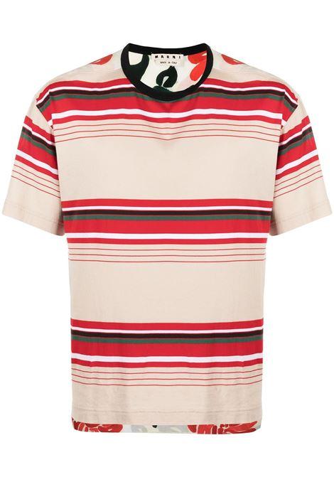Marni t-shirt con pannelli a righe uomo y4468 MARNI | T-shirt | HUMU0009Q0STJ336Y4468