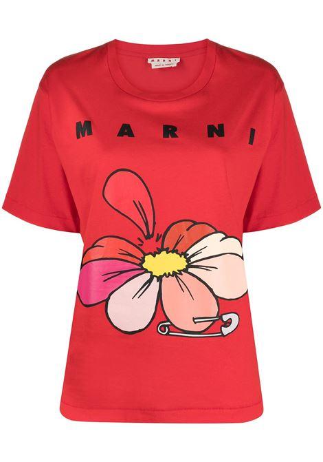 Marni t-shirt a fiori donna 00r66 MARNI | T-shirt | THJEL32EPTUSCR1400R66
