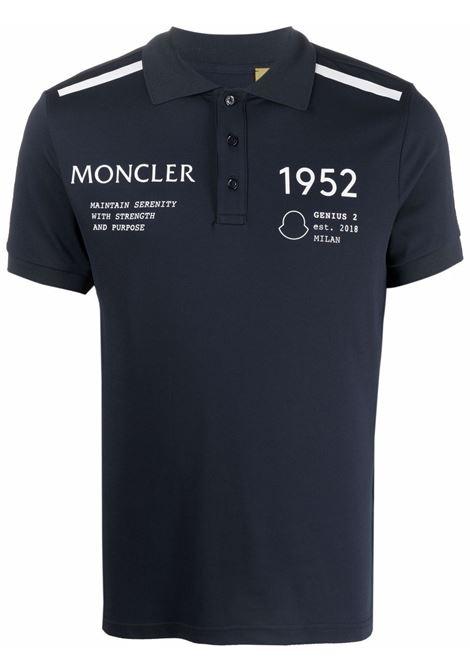 Polo con stampa frontale con logo blu navy - uomo MONCLER 1952 | 8A70611899E8778