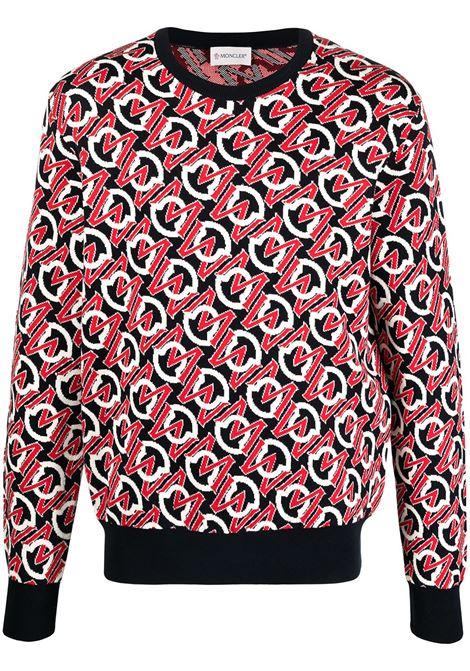 Moncler jacquard-logo jumper 742 blue/red MONCLER | Sweaters | 9C76200V9157742