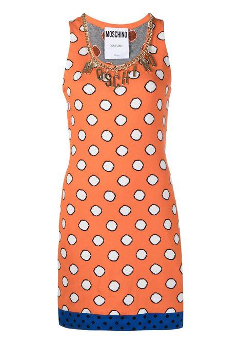 Moschino abito corto a pois donna fantasia arancio MOSCHINO | Abiti | A04805021035