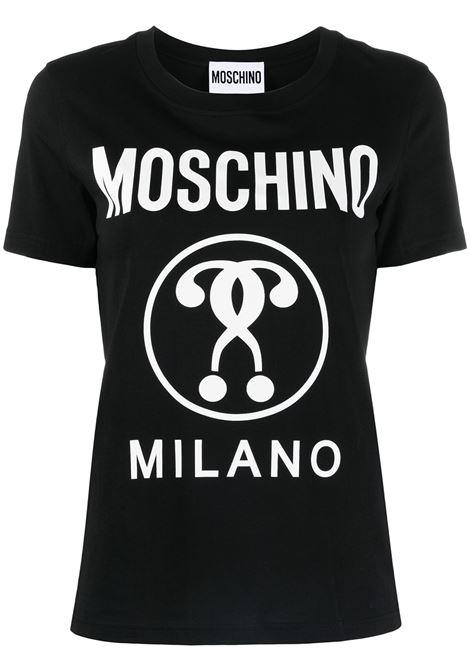 Moschino t-shirt double question mark donna fantasia nero MOSCHINO | T-shirt | A07155402555