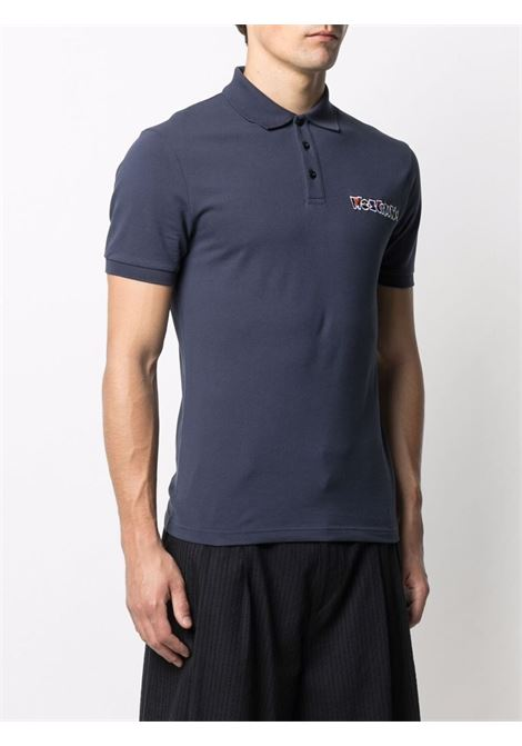 Polo con logo in blu - uomo MOSCHINO | A121320431290