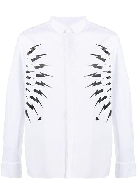 Neil Barrett camicia con stampa uomo white black NEIL BARRETT | Camicie | PBCM1460CQ014S526