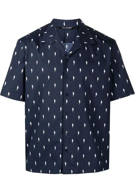 Neil barrett camicia thunderbolt uomo dark navy white NEIL BARRETT | Camicie | PBCM1469FQ037186