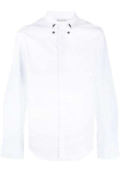 Neil Barrett camicia con stampa uomo white black NEIL BARRETT | Camicie | PBCM1471CQ016S526