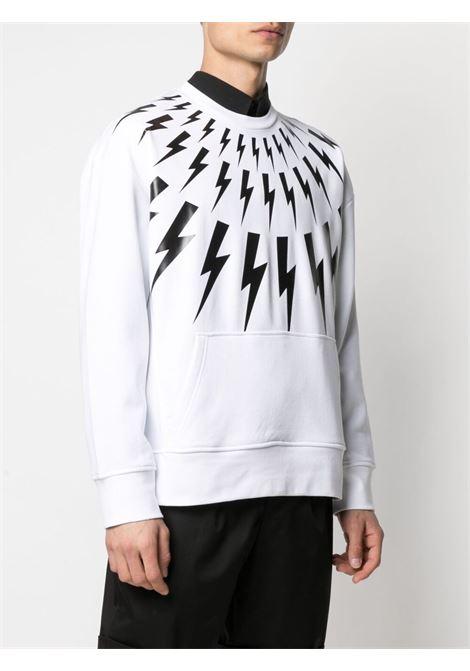 Neil barrett thunderbolt sweatshirt men white black NEIL BARRETT | PBJS714SQ505S526