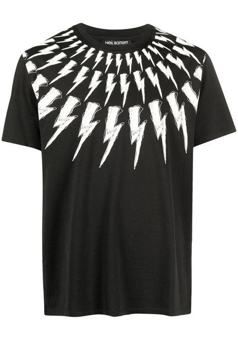 Neil Barrett t-shirt thunderbolt uomo black white NEIL BARRETT | T-shirt | PBJT883SQ516S524